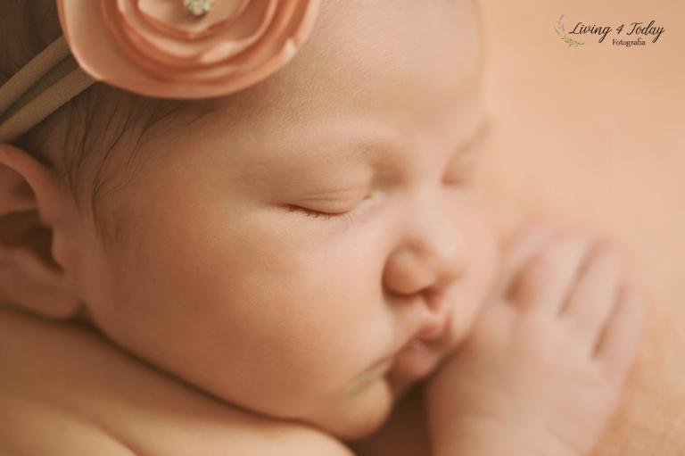 Foto de recién nacida con una diadema beige con una rosa color salmón sobre una manta rosa